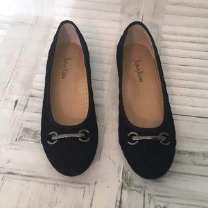 Neiman Marcus quilted black velvet ballerina flats